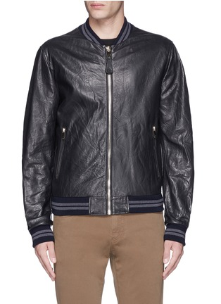 Main View - Click To Enlarge - Dolce & Gabbana - Leather baseball jacket