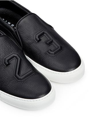 Detail View - Click To Enlarge - JOSHUA SANDERS - '23' embossed leather skate slip-ons