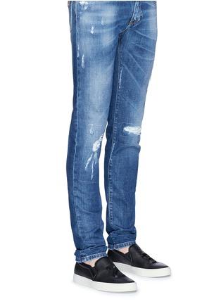 Figure View - Click To Enlarge - JOSHUA SANDERS - '23' embossed leather skate slip-ons