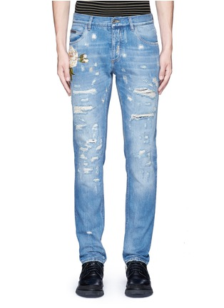 Detail View - Click To Enlarge - Dolce & Gabbana - 'Gold 14' regular fit distressed and embroidered jeans