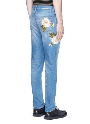 Back View - Click To Enlarge - Dolce & Gabbana - 'Gold 14' regular fit distressed and embroidered jeans