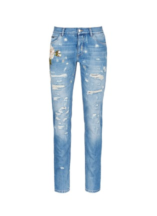 Main View - Click To Enlarge - Dolce & Gabbana - 'Gold 14' regular fit distressed and embroidered jeans