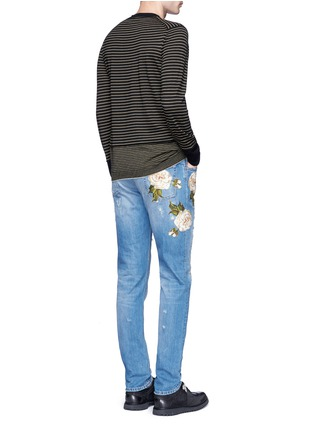 Figure View - Click To Enlarge - Dolce & Gabbana - 'Gold 14' regular fit distressed and embroidered jeans