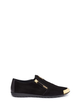 Main View - Click To Enlarge - Giuseppe Zanotti Design - 'Dalila' metal toe Hovercraft sole suede loafers