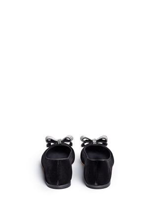 Back View - Click To Enlarge - Giuseppe Zanotti Design - 'Lucrezia' strass bow velvet flats