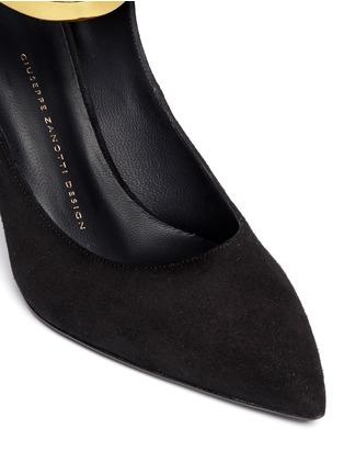 Detail View - Click To Enlarge - 73426 - 'Lucrezia' metallic ankle strap suede pumps