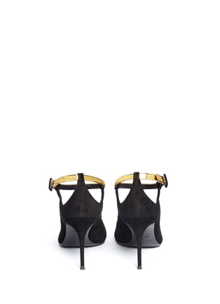 Back View - Click To Enlarge - 73426 - 'Lucrezia' metallic ankle strap suede pumps