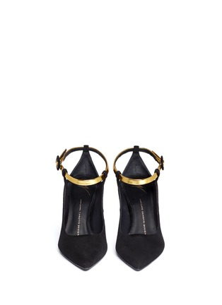 Front View - Click To Enlarge - 73426 - 'Lucrezia' metallic ankle strap suede pumps