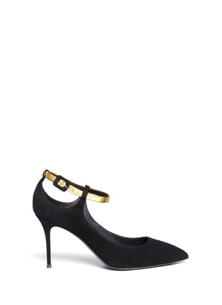 Main View - Click To Enlarge - 73426 - 'Lucrezia' metallic ankle strap suede pumps