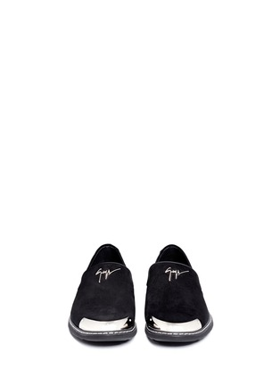 Front View - Click To Enlarge - Giuseppe Zanotti Design - 'Kevin' metal toe cap suede slip-ons