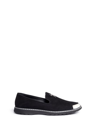 Main View - Click To Enlarge - Giuseppe Zanotti Design - 'Kevin' metal toe cap suede slip-ons