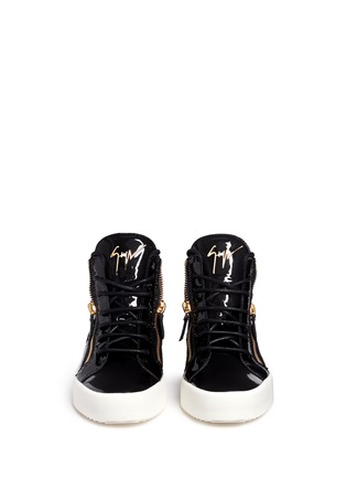 Front View - Click To Enlarge - Giuseppe Zanotti Design - 'May London' patent leather lace-up high top sneakers
