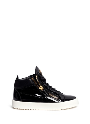 Main View - Click To Enlarge - Giuseppe Zanotti Design - 'May London' patent leather lace-up high top sneakers