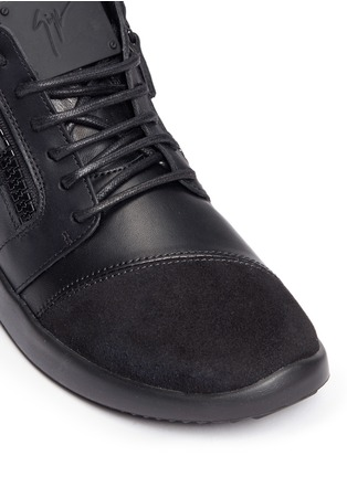 Detail View - Click To Enlarge - Giuseppe Zanotti Design - 'Singleg' zip suede leather combo sneakers