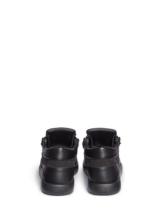 Back View - Click To Enlarge - Giuseppe Zanotti Design - 'Singleg' zip suede leather combo sneakers
