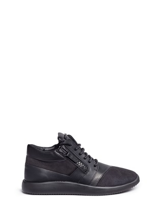 Main View - Click To Enlarge - Giuseppe Zanotti Design - 'Singleg' zip suede leather combo sneakers