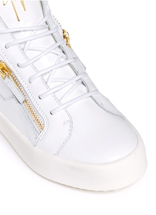 Detail View - Click To Enlarge - Giuseppe Zanotti Design - 'May London' zipped patent leather high top sneakers