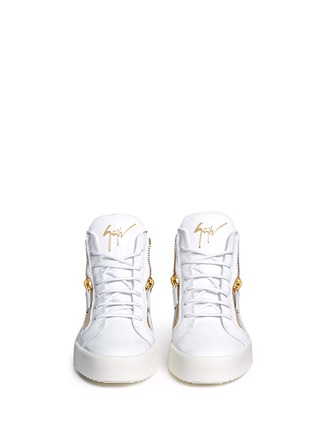 Front View - Click To Enlarge - Giuseppe Zanotti Design - 'May London' zipped patent leather high top sneakers