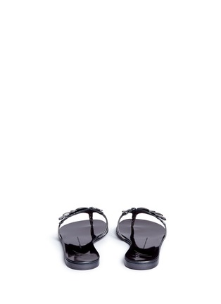 Back View - Click To Enlarge - 73426 - 'Rock' mirror leather slide sandals