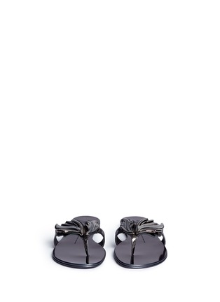 Front View - Click To Enlarge - 73426 - 'Rock' mirror leather slide sandals