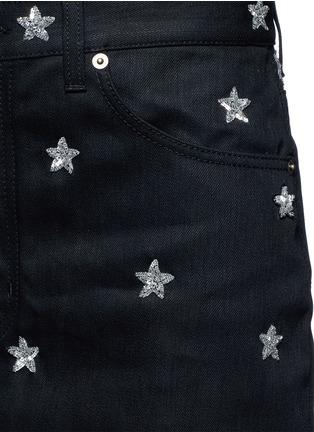 Detail View - Click To Enlarge - SAINT LAURENT - Sequin star embellished denim skirt