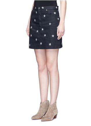 Front View - Click To Enlarge - SAINT LAURENT - Sequin star embellished denim skirt