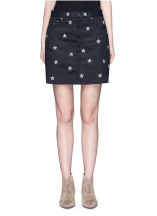 Main View - Click To Enlarge - SAINT LAURENT - Sequin star embellished denim skirt