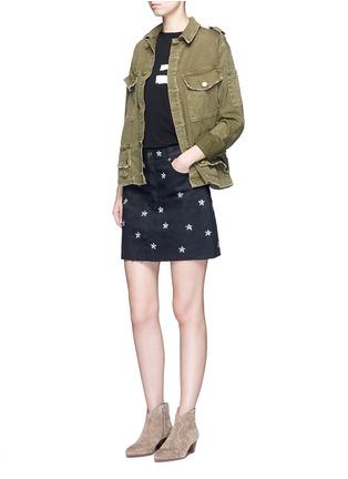 Figure View - Click To Enlarge - SAINT LAURENT - Sequin star embellished denim skirt