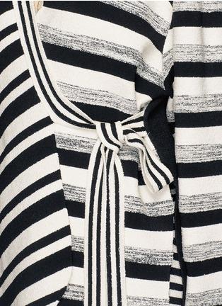 Detail View - Click To Enlarge - PORTS 1961 - Variegated stripe silk blend knit sash tie jacket