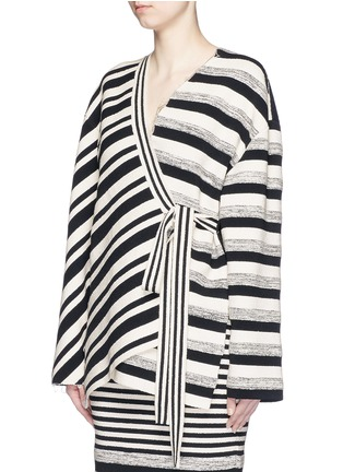 Front View - Click To Enlarge - Ports 1961 - Variegated stripe silk blend knit sash tie jacket