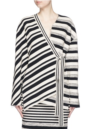 Main View - Click To Enlarge - Ports 1961 - Variegated stripe silk blend knit sash tie jacket
