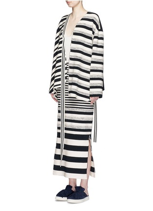 Figure View - Click To Enlarge - PORTS 1961 - Variegated stripe silk blend knit sash tie jacket