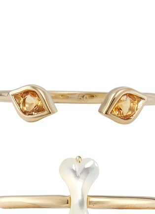Detail View - Click To Enlarge - RUIFIER - Felix' citrine Mother of Pearl 9k yellow gold two ring set