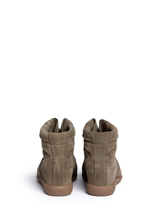 Back View - Click To Enlarge - Isabel Marant Étoile - 'Bobby' perforated nubuck leather concealed wedge sneakers