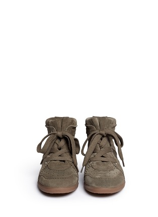 Front View - Click To Enlarge - Isabel Marant Étoile - 'Bobby' perforated nubuck leather concealed wedge sneakers