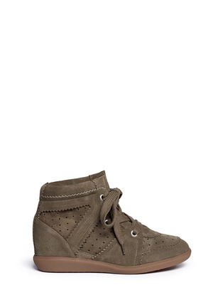 Main View - Click To Enlarge - Isabel Marant Étoile - 'Bobby' perforated nubuck leather concealed wedge sneakers