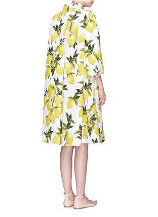 Back View - Click To Enlarge - Dolce & Gabbana - Lemon print brocade pleat back coat