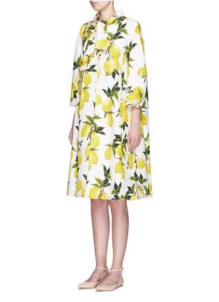 Front View - Click To Enlarge - Dolce & Gabbana - Lemon print brocade pleat back coat