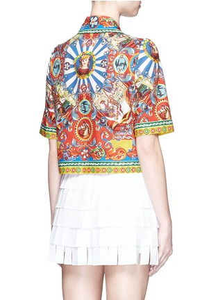 Back View - Click To Enlarge - Dolce & Gabbana - Carretto print poplin cropped shirt