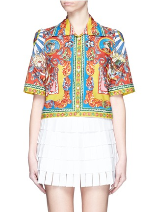Main View - Click To Enlarge - Dolce & Gabbana - Carretto print poplin cropped shirt