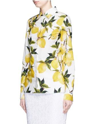 Front View - Click To Enlarge - Dolce & Gabbana - Lemon print cotton poplin shirt