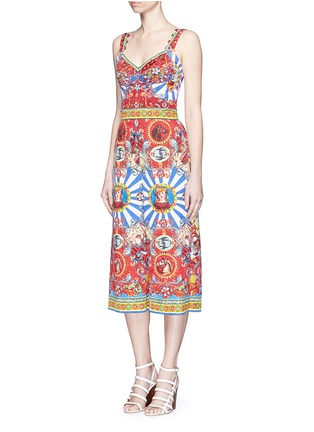 Figure View - Click To Enlarge - Dolce & Gabbana - Sicilian Carretto print floral brocade jumpsuit