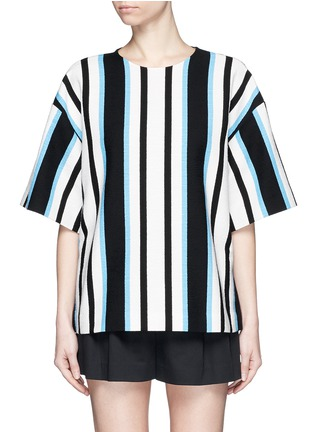 Main View - Click To Enlarge - Dolce & Gabbana - Variegated stripe Stuoia tweed boxy top