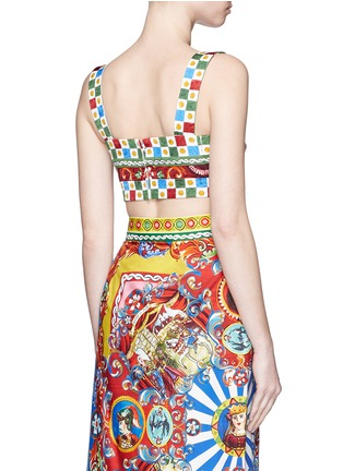Back View - Click To Enlarge - Dolce & Gabbana - Sicilian Carretto print floral brocade bralet top