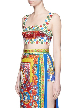 Front View - Click To Enlarge - Dolce & Gabbana - Sicilian Carretto print floral brocade bralet top