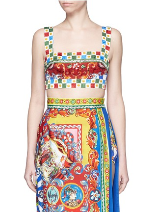 Main View - Click To Enlarge - Dolce & Gabbana - Sicilian Carretto print floral brocade bralet top