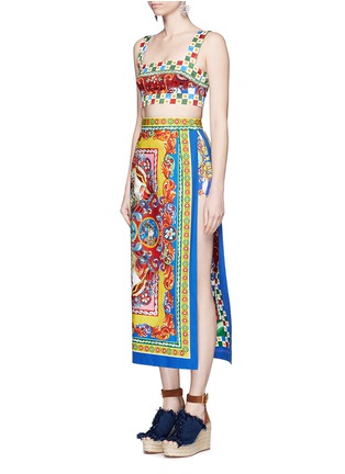 Figure View - Click To Enlarge - Dolce & Gabbana - Sicilian Carretto print floral brocade bralet top