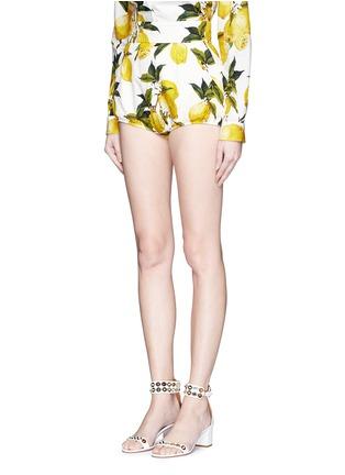 Front View - Click To Enlarge - Dolce & Gabbana - Lemon print brocade bloomer shorts