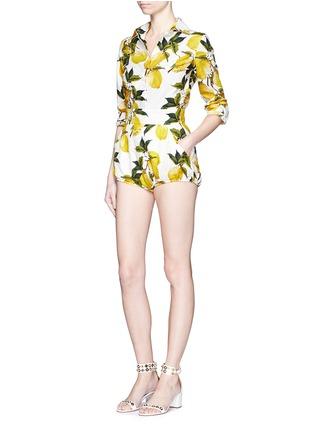 Figure View - Click To Enlarge - Dolce & Gabbana - Lemon print brocade bloomer shorts