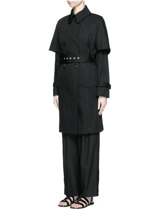 Front View - Click To Enlarge - Balenciaga - Cape back cotton twill trench coat